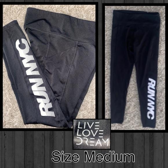 "Live Love Dream Black Athletic leggings ""RUN NYC"""